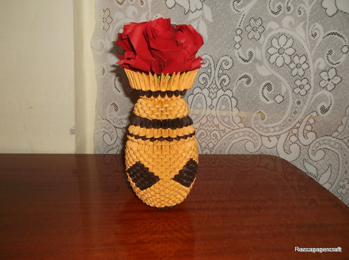 Razcapapercraft Origami 3d Vase With Flowers