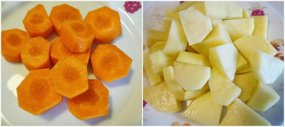 Cortar y lavar zanahoria y patata