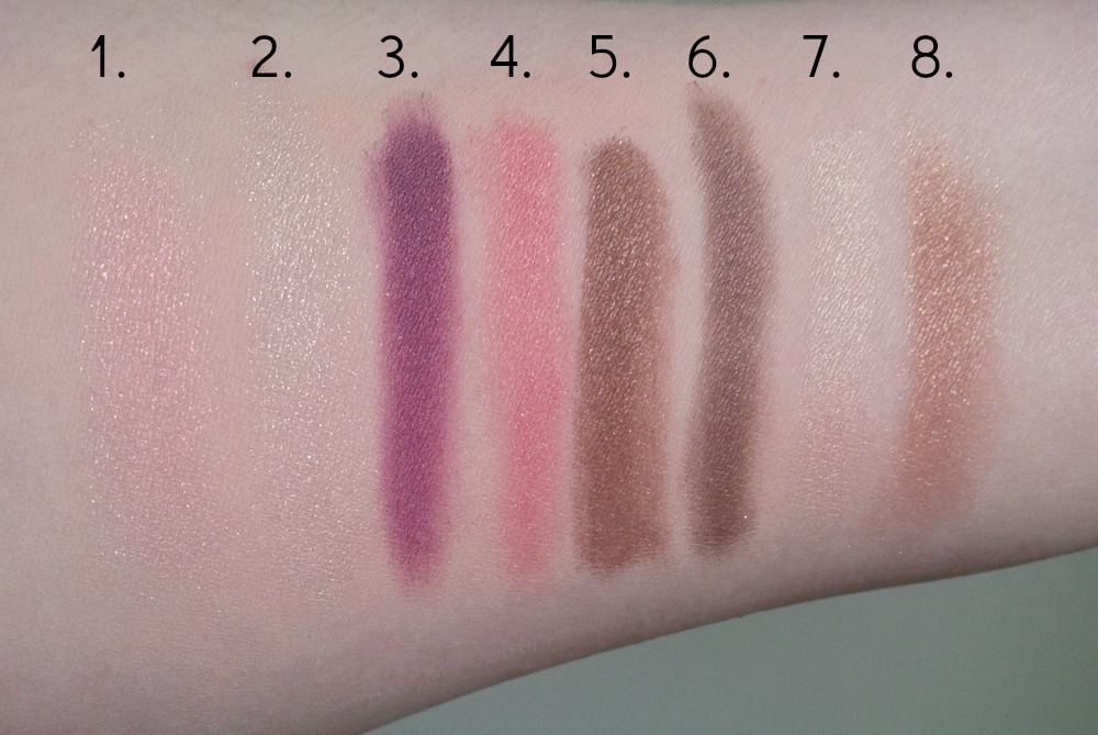 Pony X Memebox Shine Easy Glam Season 2 Palette Shine Peach Shine Dew Glam Violet Shine Rose Glam Mocha Glam Choco Shine Beige Glam Bronze swatch swatches