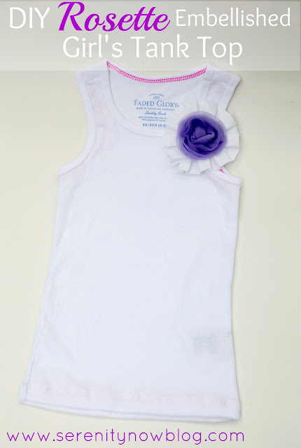 DIY Rosette Embellished Girl's Tank Top, Serenity Now blog