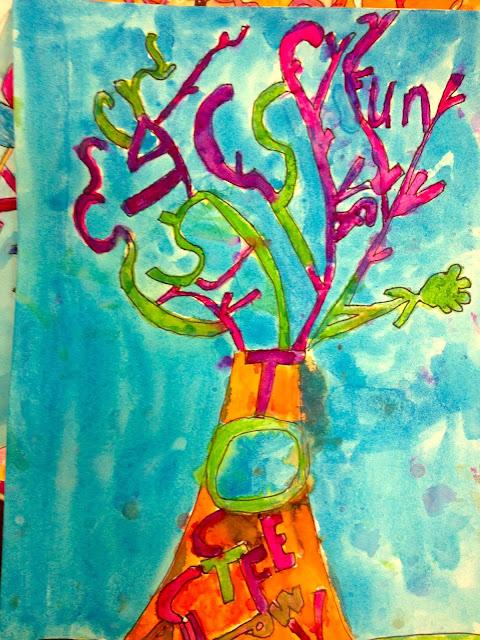 Fourth grade art lesson, art tree, watercolor tree