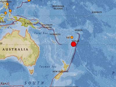 terremoto de magnitud 6,7 se registró a la altura de las islas de Wallis y Futuna, en el sur del Pacífico, 30 de Junio 2014