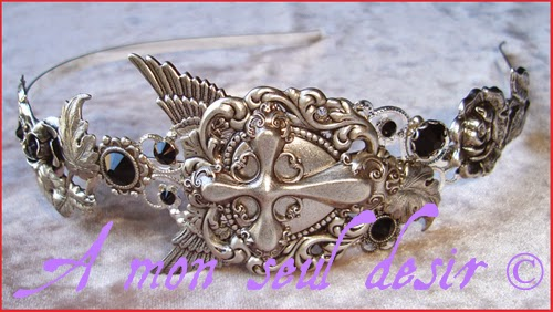Serre-tête gothique coeur croix ailes wings silver cross heart goth headband headdress Lovely Gothic Lolita