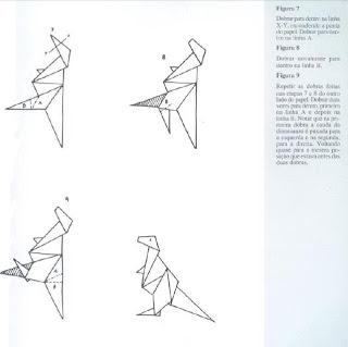 Origami - Dobraduras de papel machê. Dinossauro 2.