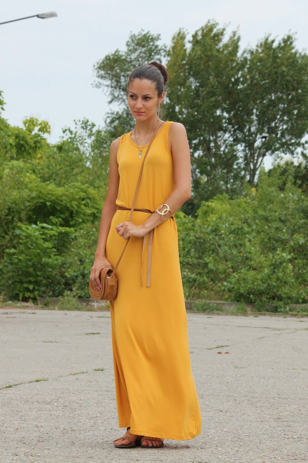 Reversible maxi dress mustard