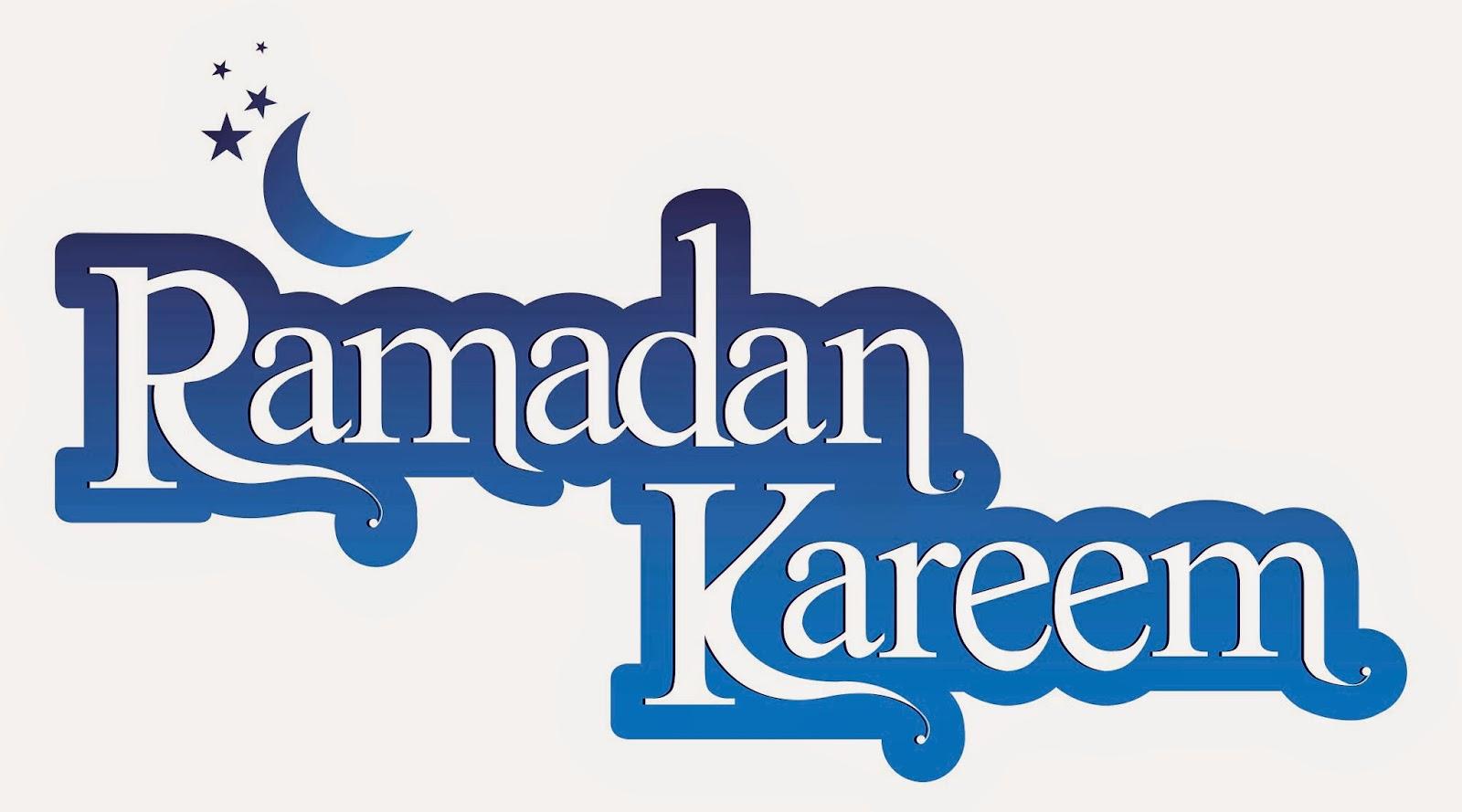Beautiful blue art of happy ramadan night english word
