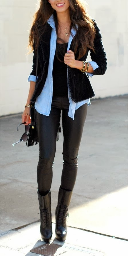 Beau Blue Long Sleeve Shirt,Black Coat,Black Leather Pent And Black Boot
