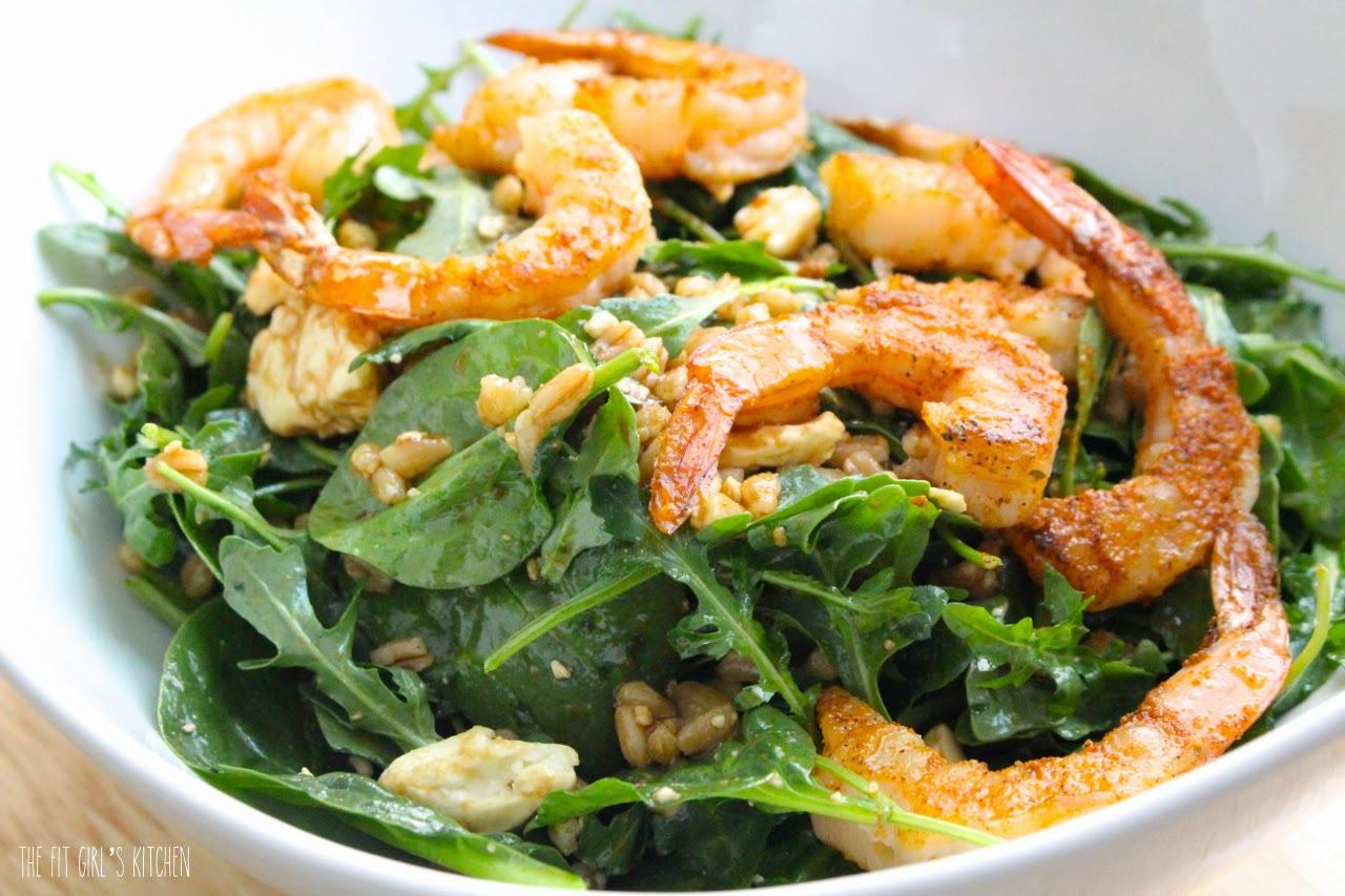 Farro Arugula Salad with Grilled Shrimp and Feta
