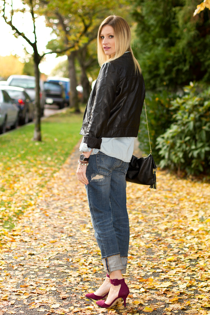 Vancouver Fashion Blogger, Alison Hutchinson, wearing Forever 21 vegan leather jacket, American Apparel dress worn as top, Urban Outfitters chambray denim top, Zara boyfriend jeans, H&amp;M black leather bag, Zara burgundy heels, True Worth Design Bracelets, Kenneth Cole watch