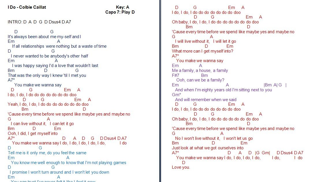 Talkingchord Colbie Caillat I Do Chords