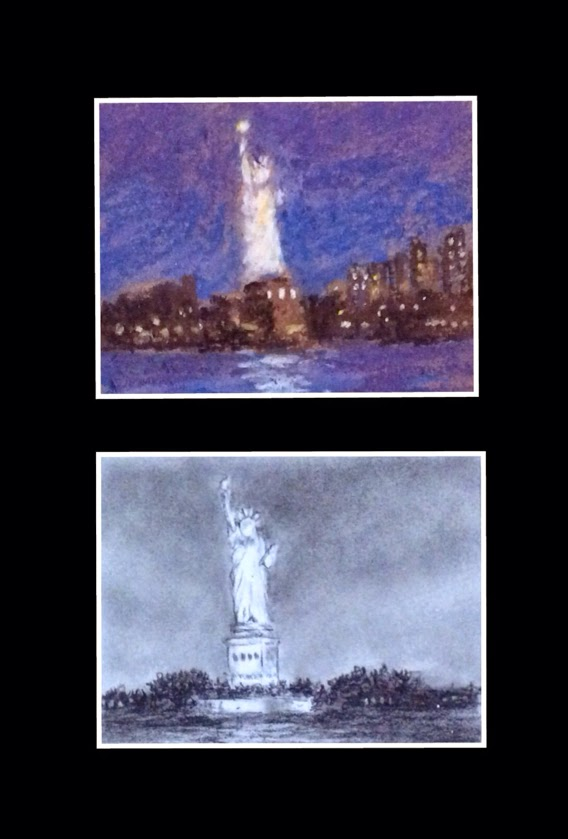 Thumbnail sketch of Statue of Liberty using soft pastels and charcoal by Manju Panchal