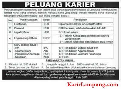 Lowongan Electrician, Perawat, Legal Officer, Engineering Officer dan Guru di Perkebunan Tebu di Lampung