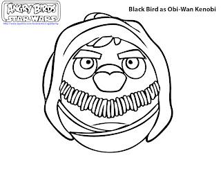 free printable angry birds Star wars coloring pages - Black Bird as Obi Wan Kenobi