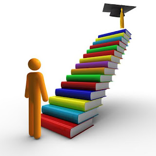 Adult learner, stack of books animation
