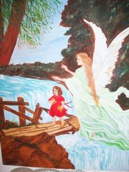Νότα Κυμοθόη Το ιερό ποτάμι Ελαιογραφία σε μουσαμά