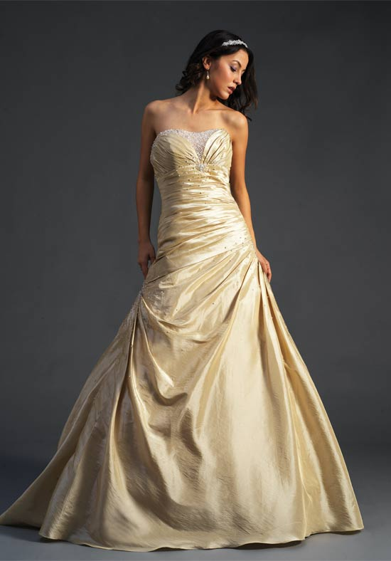 A wedding addict gold wedding gown 39 s for Golden dresses for a wedding