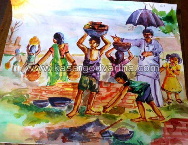 Water color, Nileshwaram, kasaragod, Kerala, Child Line, Competition, child-labour, Education, Ambalathara, Student, Painting, Vishnu priya, Govt. Higher Secondary School