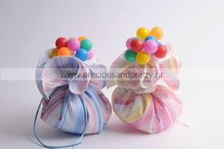 handmade baptism favors girl or twins stripes with ballons