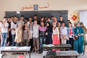 Teaching english abroad to a large group students in Morocco.