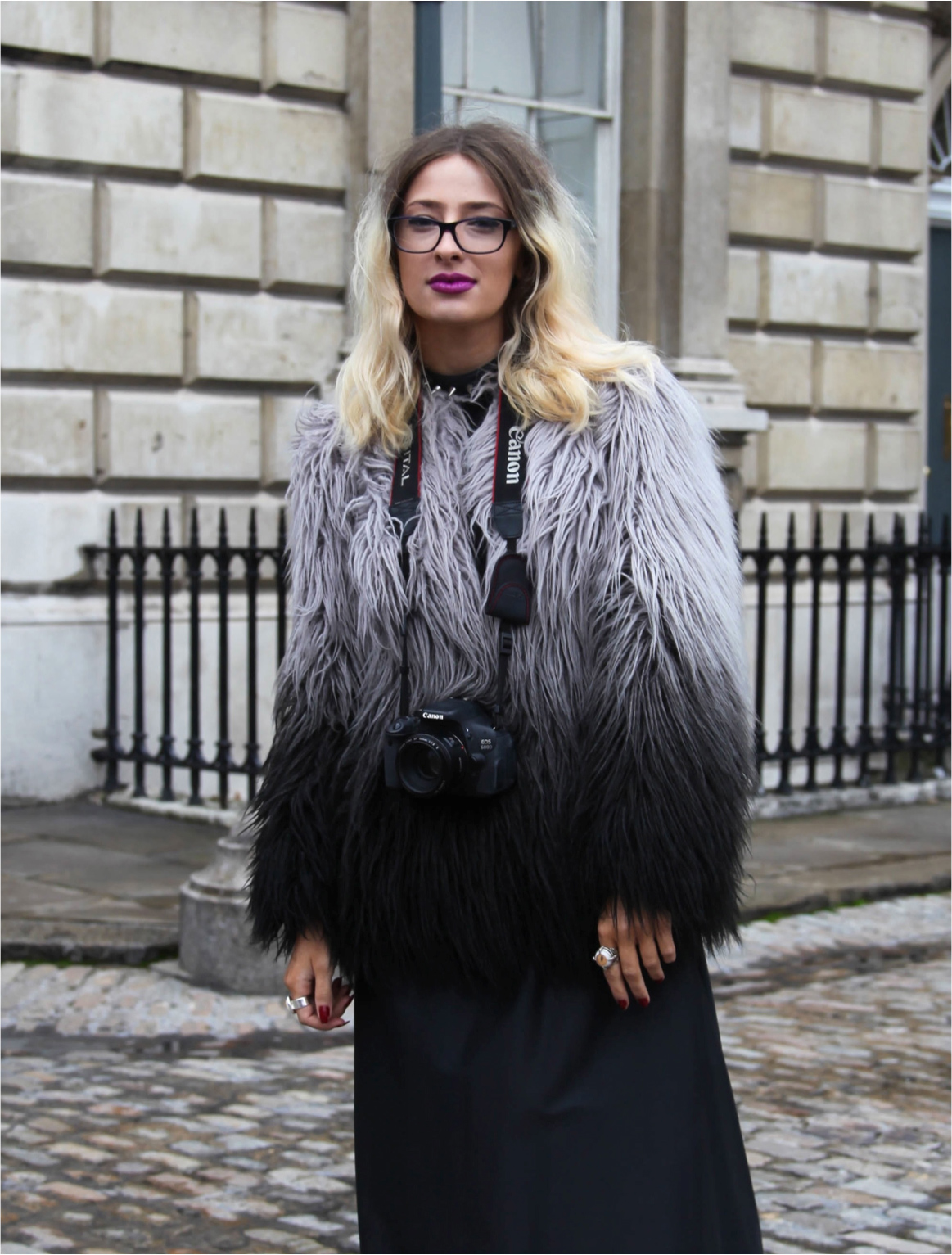 London Fashion Week ombre fur jacket ombre hair and purple lips
