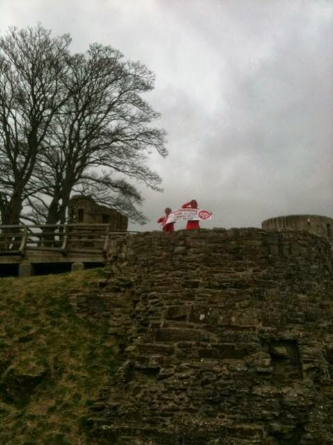 Unfurling the banner at Barnard Castle
