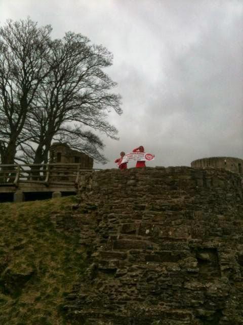 Unfurling the banner at Barnard Castle