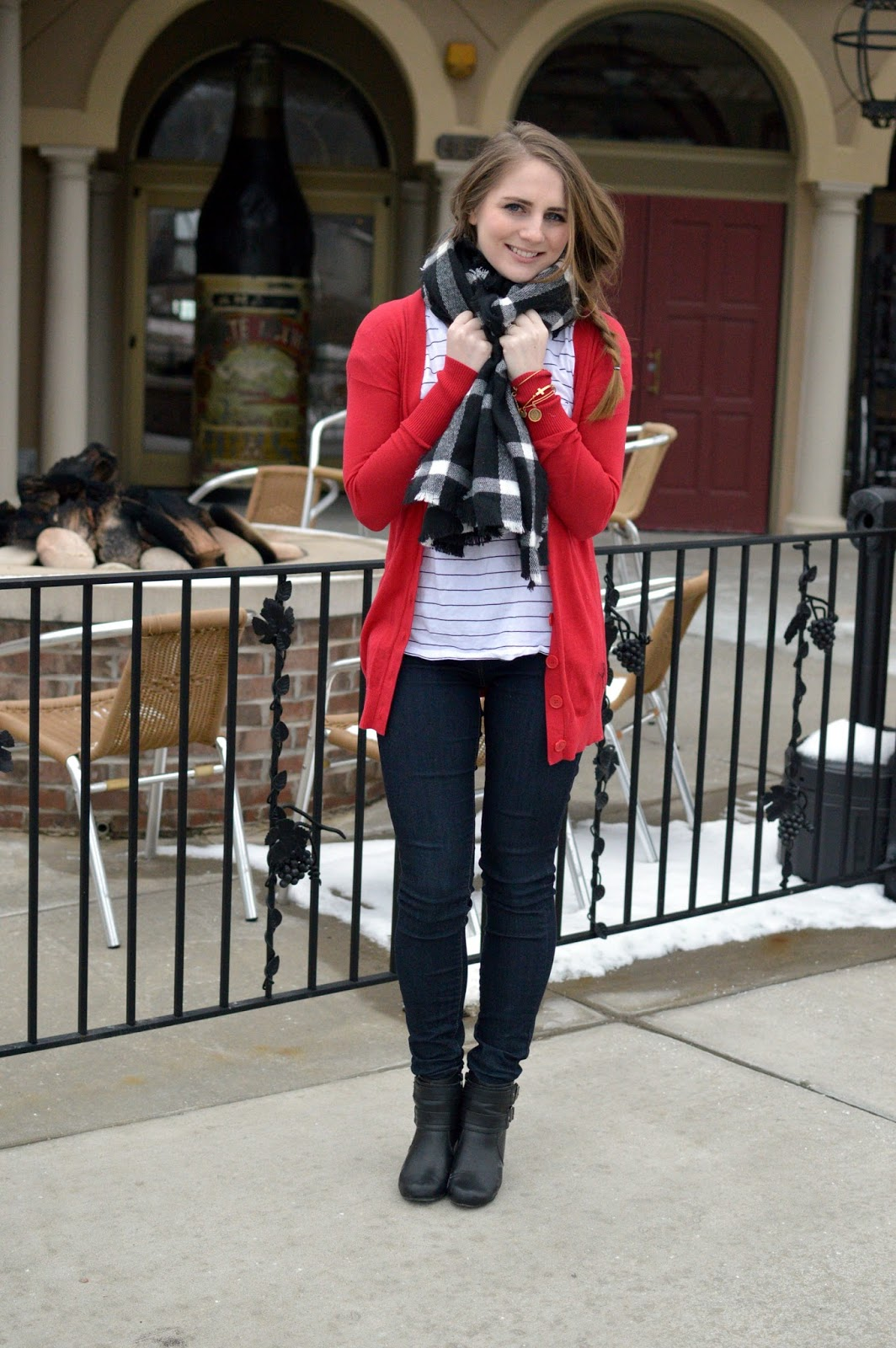 what to wear with a red boyfriend cardigan
