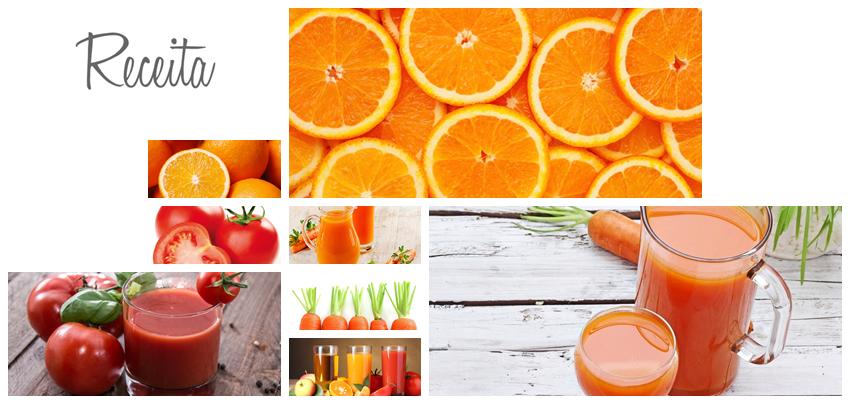 Sumo de cenoura, tomate e laranja
