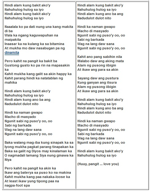 LYRICS OF KAHIT NA TONI GONZAGA