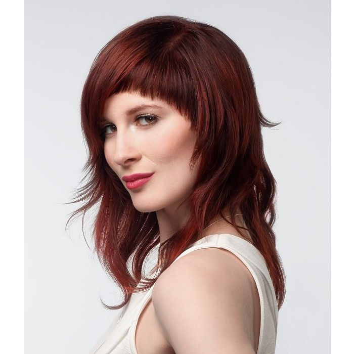 Medium-length hairstyle with rounded bangs