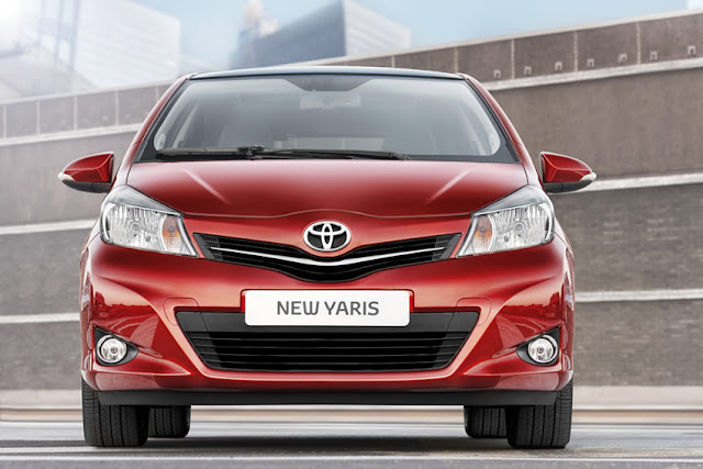 Front view of red 2012 Toyota Yaris