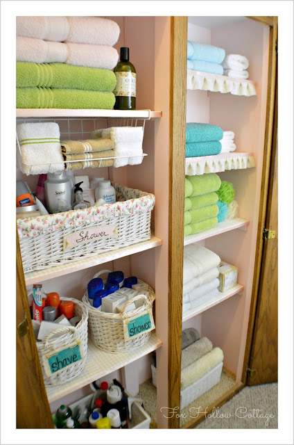 Project linen closet reveal pretty and organized fox for Pretty project