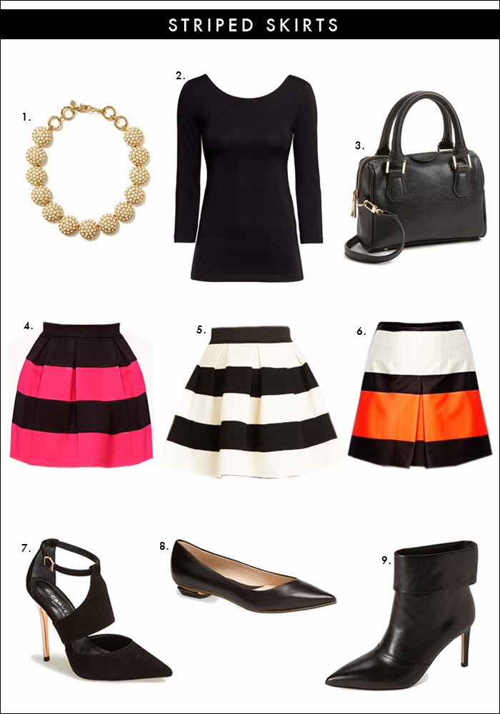 striped skirts, forever 21, asos, nordstrom, statement necklace, flats, bootie, cut out pumps, what to wear bridal shower, what to wear valentines day