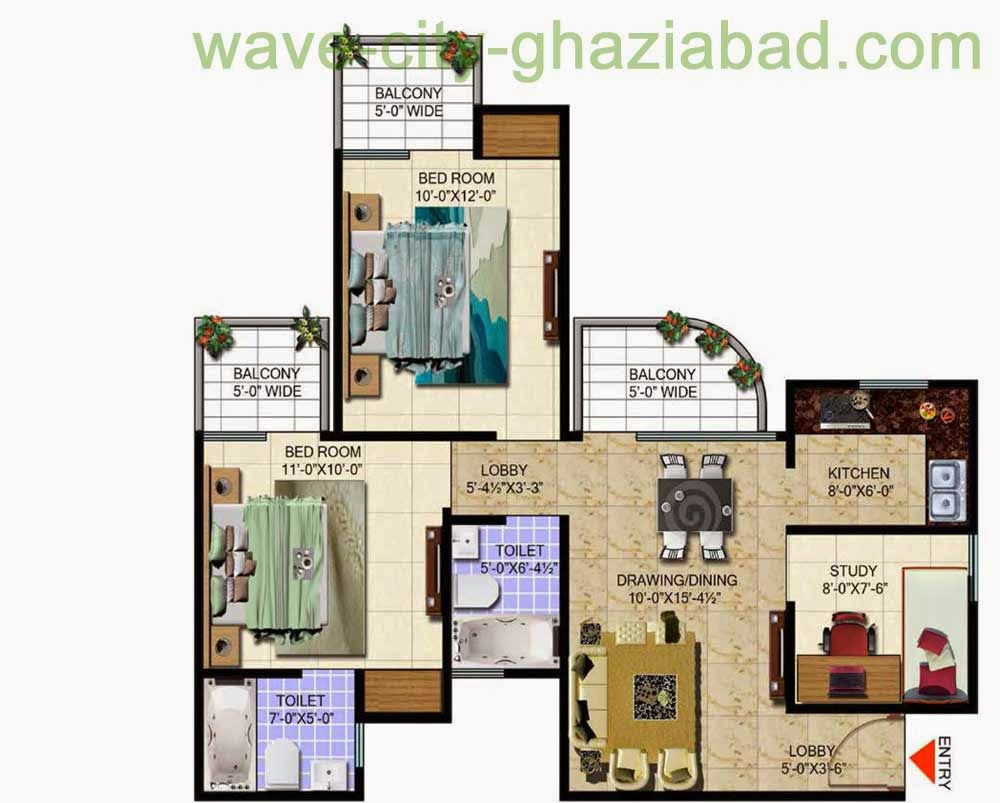 Wave City Mantra Meadows 2BHK APARTMENT + STUDY/ 1099 SQFT