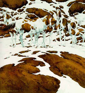 hidden pinto horses in the snow optical illusion