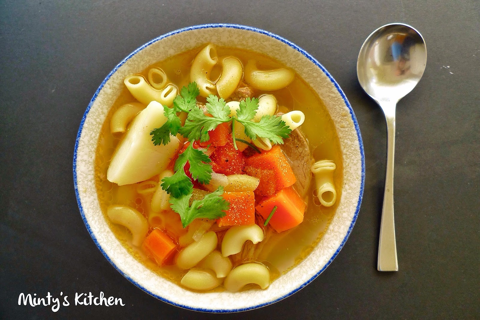 Macaroni in Lamb and Vegetables Soup
