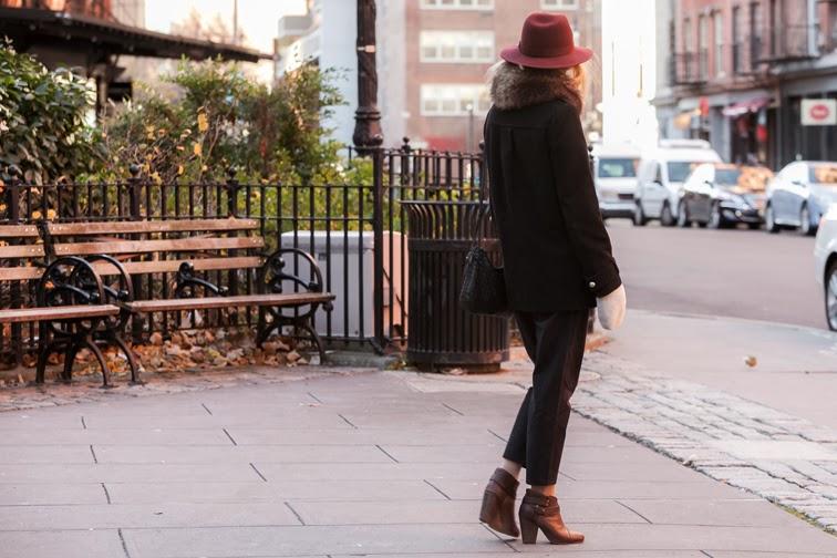 Downtown New York Tribeca crop pinstripe pants Tibi Rag & Bone boyfriend coat