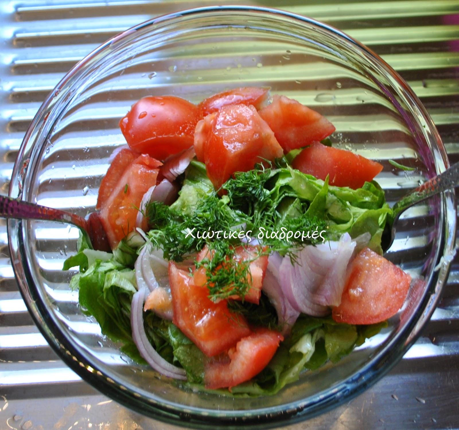 Μαρούλι-ντομάτα σαλάτα