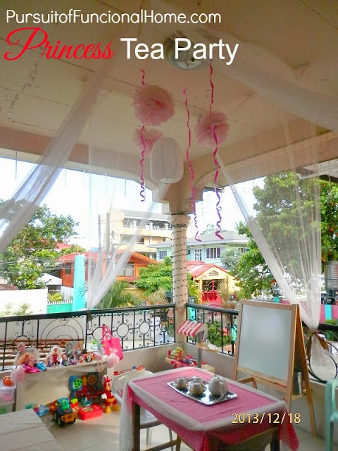 Princess Tea Party Ideas, decorations, pom pom tissue, chinese lantern as decor
