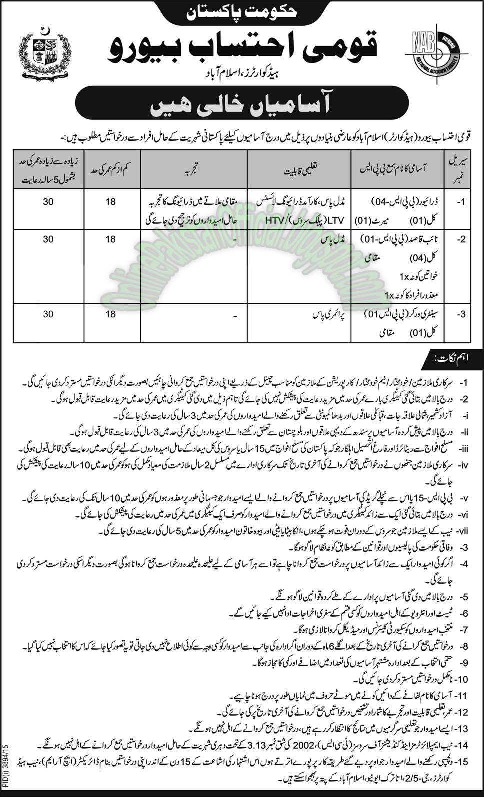 National Accountability Bureau, Islamabad latest 2016 jobs