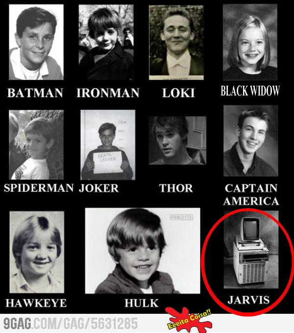 Fotos de personagens de filmes de heróis quando eram crianças o mais engraçado é a do Jarvis que é mostrado como um computador muito velho