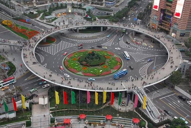 Circular Pedestrian Bridge in Lujiazui — China