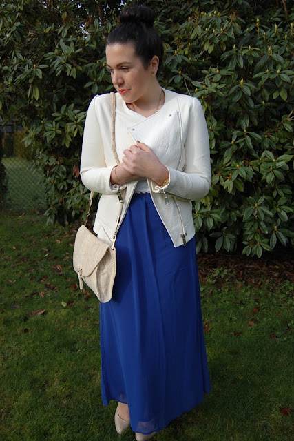 Zara white leather jacket, bright blue Forever 21 maxi skirt and a snakeskin Ferragamo bag.