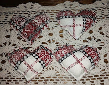 4 WOVEN COVERLET HEARTS RED, CREAM AND NAVY