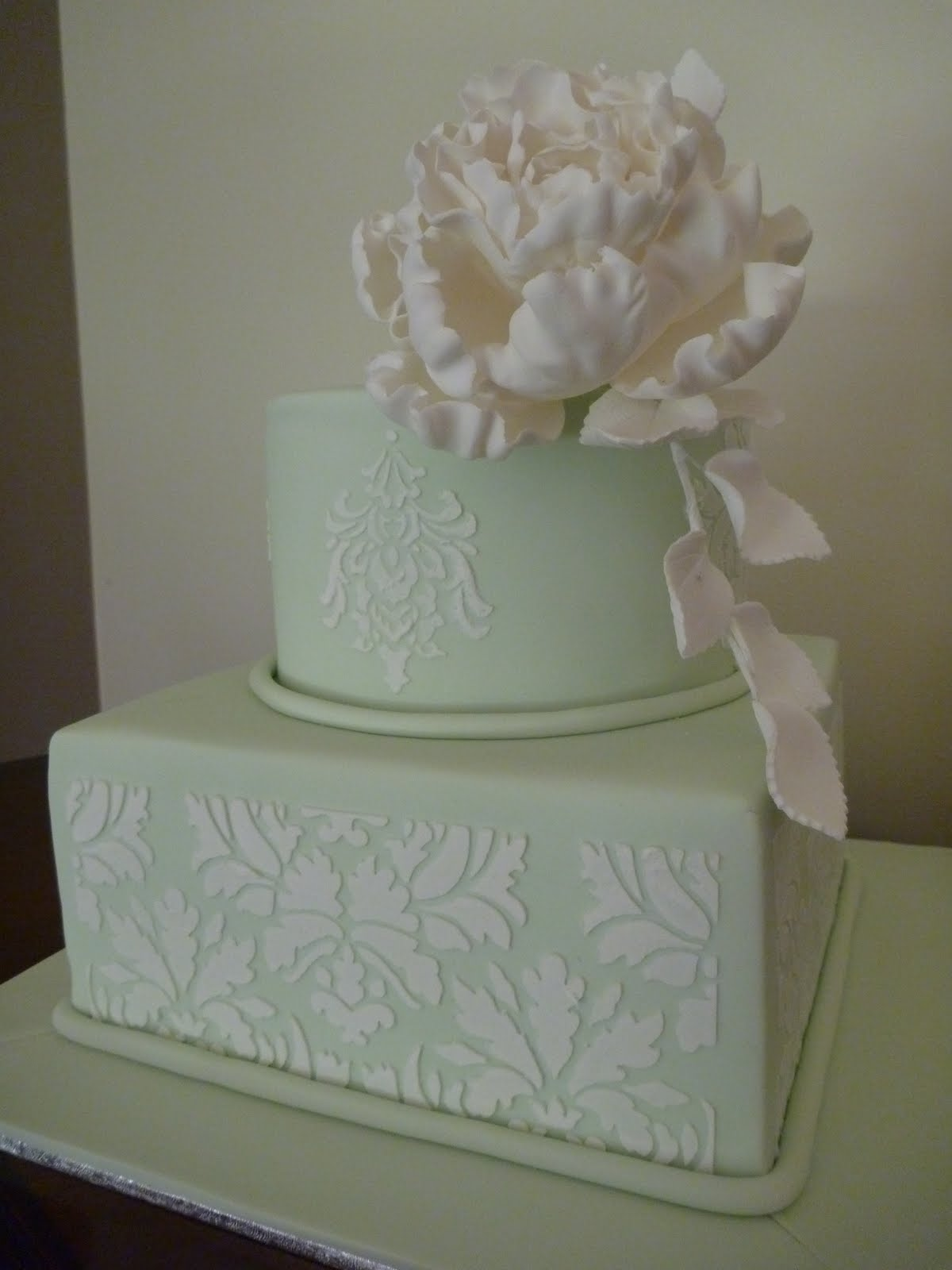 Love Cake 2 Tier Wedding Cake With Stencil And Sugar Flower