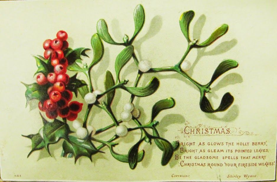 old european christmas card showing mistletoe viscum album with white berries and holly ilex aquifolium with red berries - Mistletoe Christmas