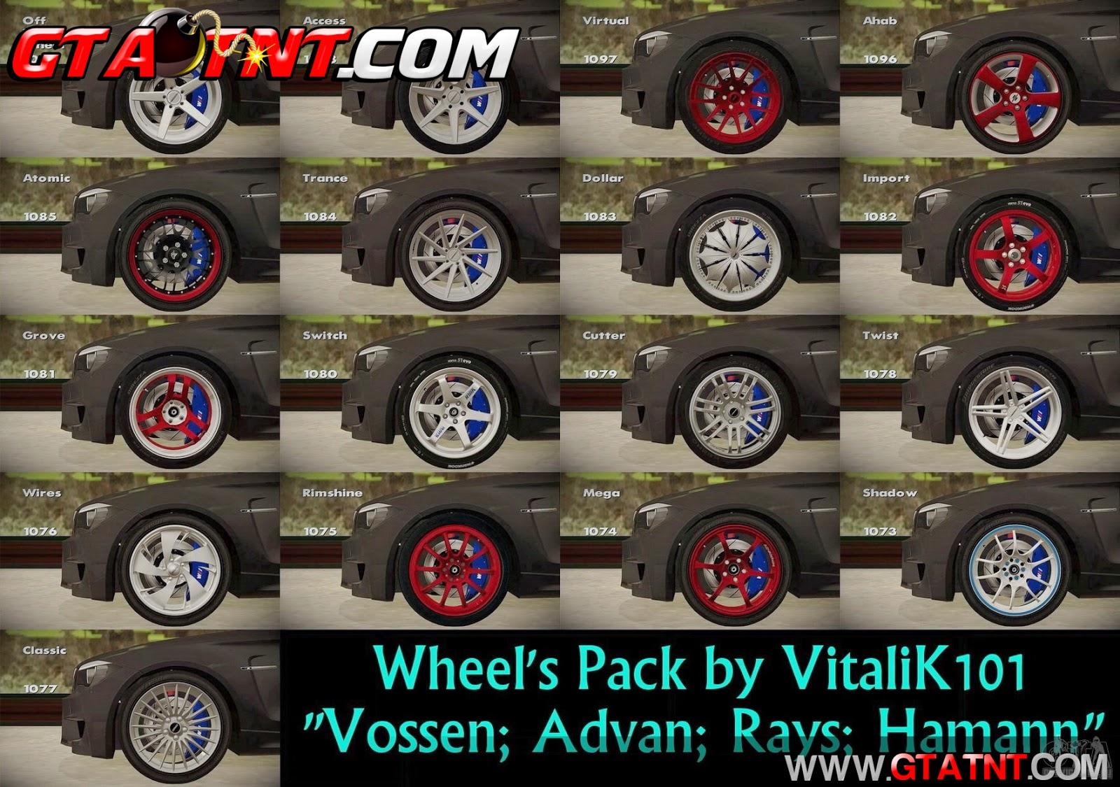 Pack de rodas VitaliK101 para GTA San Andreas