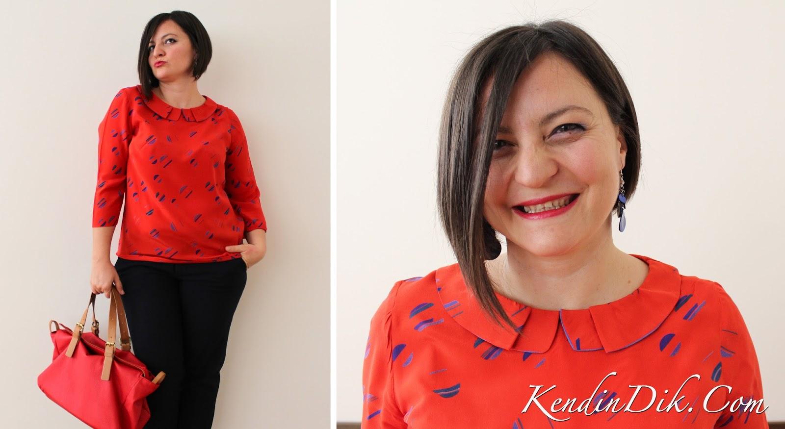 kırmızı bluz, peter pan yaka bluz, ipek bluz, geometrik desenler