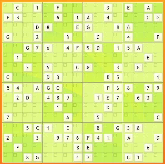Jumbo Sudoku 16x16 (Easy Level)