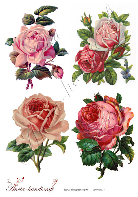 Aneta-handicraft decoupage papers- Roses Collection